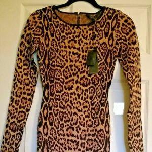 BCBGMaxazria Leopard Cocktail Bodycon Dress XS